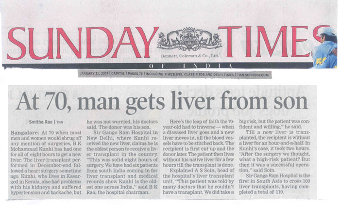At 70 man gets Liver from son