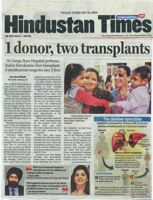 One Donor Two Transplants