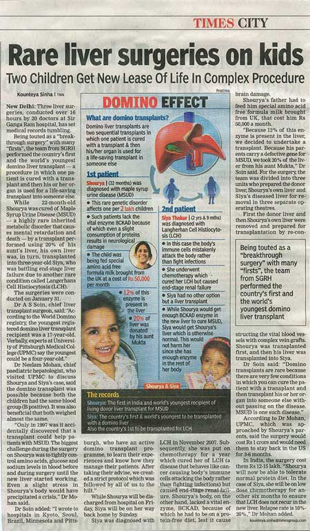 Rare liver Surgeries on kids